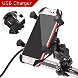Evermotor Universal Motorcycle Cell Phone Mount Holder Waterproof USB Charger 360° Rotation Handlebar