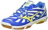 Mizuno Wave Hurricane, Zapatos de Voleibol para Hombre, (White/safetyyellow/directoireblue), 44.5 EU