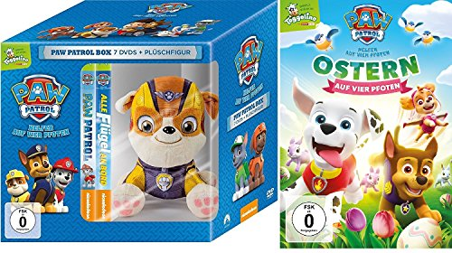 Paw Patrol Box : DVD (Toggolino) Volume 1-7 inkl. Plüschfigur Rubble + DVD Ostern auf vier Pfoten - Deutsche Originalware [8 DVDs] -