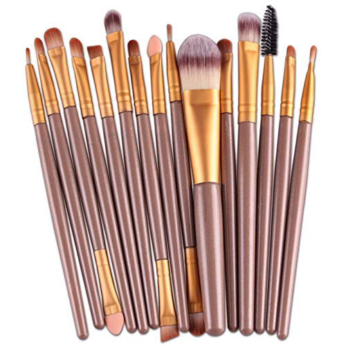 MRULIC 22pcs Make UP Pinsel Pinselset Schminkpinsel Kosmetikpinsel Kosmetik Brush (K-15Stück) (Make-up-pinsel Gelb)