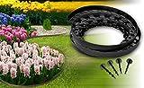 Chrispol System Bordure de pelouse Noir 20 m - 2X 10 m de Long 4 cm de Haut + 100 Clous de Fixation