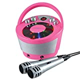 Groov-e Karaoke Boombox, Portable Karaoke Machine with CD Player & Bluetooth Wireless Playback - Pink