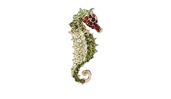 EVER FAITH Femme Cristal Autrichien Party Mode 3D Seahorse Animal Broche Pin Vert Ton dor