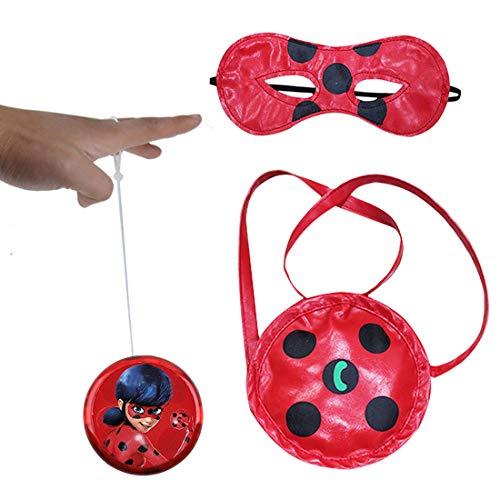 Geenber Miraculous Ladybug Yo-yos Ball Spielzeug Set für Kinder mit Handtasche und Augenmaske Kreative Jonglier Cosplay Spielzeug für Mädchen oder Kinder Action-Figuren Geburtstagsgeschenk