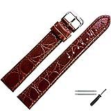 MARBURGER Uhrenarmband 26mm Leder Braun Kroko XL - Werkzeug Montage Set 6812632000120