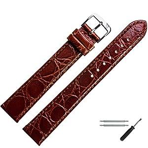 MARBURGER Uhrenarmband 26mm Leder Braun Kroko XL – Werkzeug Montage Set 6812632000120