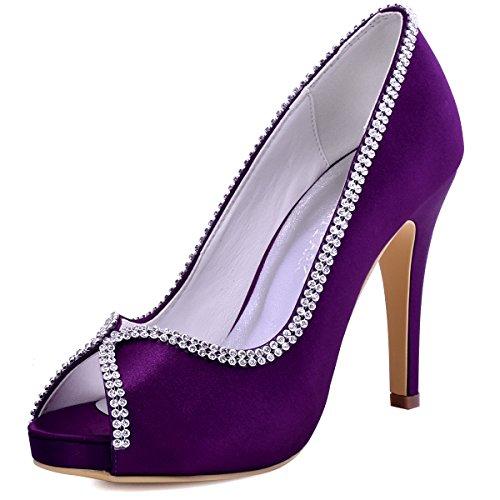 ElegantPark EP11083-IP Mujer Peep Toe Plataforma Tac¨®n Alto Rhinestones Cadenas Zapatillas Sat¨¦n Zapatos de Noche Morado EU 37