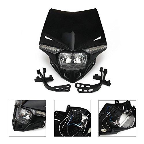 Schwarz Universal S2 12 V 35 W Universal-Motorrad Scheinwerfer Scheinwerfer mit LED Drehen Licht für Motorrad Honda Kawasaki suzukki Yamaha Motorräder Motocross Enduro Dirt Pit Bike ATV