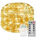 Minger 10M LED Lichterschlauch, 100 LED Batteriebetrieben, wasserdicht, 8 Modi/Timer, Warme Weiße Außendokorative Licht Stimmung für Garten, Terrasse Party