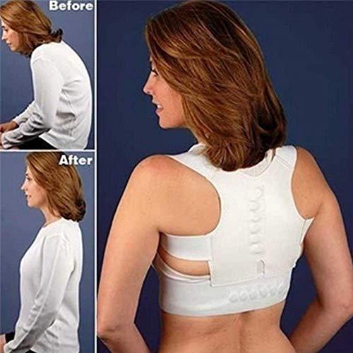 leihao888 Rückenstreben Magnetische Haltungskorrektur Gürtel Schultern Unterstützung der Rückenhaltung Richtige Haltung Rückenstütz-BH Haltung L Weißer Rückenstützgürtel -