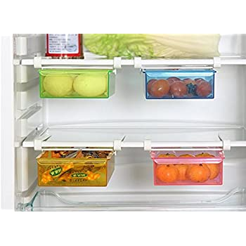 refrigerator racks. hibote multipurpose fridge storage sliding drawer freezer shelf refrigerator organizer space saver shelf,20.5*15*7.3cm[8*6*2.8 inch],pack of 2-color racks f