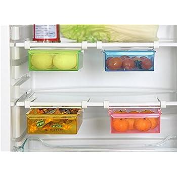 refrigerator racks. hibote multipurpose fridge storage sliding drawer freezer shelf refrigerator organizer space saver shelf,20.5*15*7.3cm[8*6*2.8 inch],pack of 2-color racks f