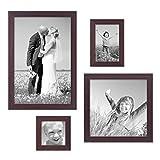 PHOTOLINI 4er-Set Bilderrahmen Nuss Modern Massivholz-Rahmen je einmal 10x10 10x15 20x20 und 20x30 cm inkl. Zubehör zur Gestaltung einer Bilderwand oder Fotowand/Fotorahmen
