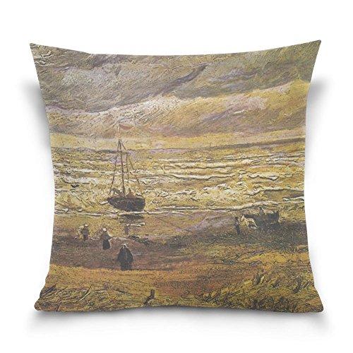 SUABO Wheatfield with Crows von Vincent Van Gogh Baumwolle Samt dekorativer Überwurf-Kissenbezug 40,6x 40,6cm, 50% Baumwolle, 50% Polyester, Design 30, 50,80 cm X 50,80 cm