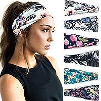 6 Pack Set Women's Yoga Running Headbands Sports Workout Hair Bands (Set 14)