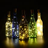 6 Pack Cork Decorative Lights for Bottles, 30inch/ 75cm 15 LED Copper Fairy Wire Lights - Up to 72 hours Lighting - for Wine Bottle DIY, Party, Decor, Wedding (6 Pack Warm White)