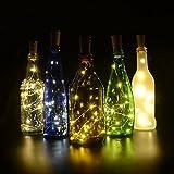 3 Piezas De Corcho Luces Botella Luces de Hadas de Cuerda LED 100cm de Alambre de Cobre 20 Bombillas para Fiesta Boda Concierto Festival Decoración de Navidad Blanco cálido (3 pilas de botón LR41 incluidas)