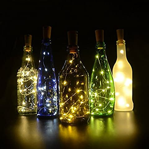 Fairy Light, Cork Light for Wine Bottles, 30inch/ 75cm 15 LED Copper Wire Lights - Up to 72 hours Lighting - for Wine Bottle DIY, Party, Decor, Wedding (6 Pack Warm