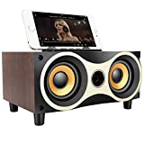 Sysmarts Sistemi di altoparlanti, Sistemi portatili in legno wireless Bluetooth audio surround Supporto TF MP3 Player con radio FM, supporto telefono per iPhone Android (noce)