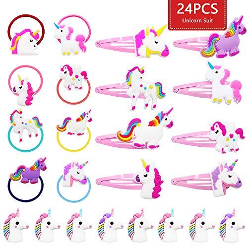 JUSTIDEA 24 piezas unicornio Cute pinzas pelo niña
