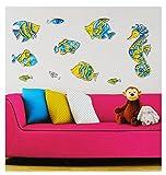 Set 3-D - wasserfest - Wandtattoo / Fensterbild / Sticker - Fische Seepferdchen Mosaik - Wandsticker Aufkleber Badezimmer Bad - Pop-UP / Fisch Unterwasser Fis..