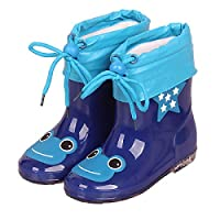 LYXFZW,Rain Boots For Kids,girls,Rubber Wellington Boots Children With Soft Plush Warm Ankle Cute Waterproof Non-Slip Boys Easy Wipe Deep Blue Frog Removable For Outdoor School Garden