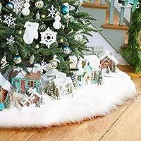 AMAES Gonna Albero Di Natale Puro Bianco Gonna Finta Pelliccia Albero Per Buon Natale & Party Vacanze Decorazioni Casa (35 Inches)