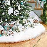 AMAES Faldas Para El Árbol Navidad Falda De Árbol De Piel Sintética Blanca Pura Para Decoraciones De Fiestas Y Fiestas Navideñas (35 Inches)