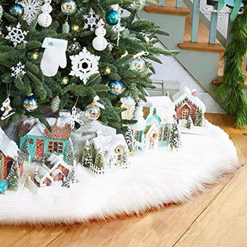 AMAES Weihnachtsbaum Rock Reiner Weiß Faux Pelz Baumrock Für Christbaumständer Dekoration Weihnachtsbaum Decken Tannenbaum Decke (35 Inches)