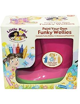 Tierra Garden 7-lp414Little Pals Kinder Ihr eigenes Funky Gummistiefel, Pink mit Grün Trim, Größe Small: US 9,5...