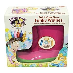 Tierra Garden 7-lp414Little Pals enfants Peinture votre propre Funky Bottes en caoutchouc, Rose avec bordure verte, petite taille: US 9.5, Pink with Green, L