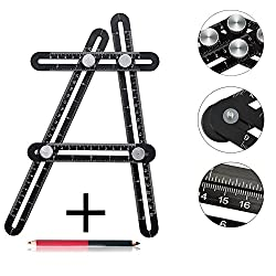 Upgraded Angleizer Template Tool,multi Angle Measuring Ruler,premium Aluminum Alloy Angularizer Ruler Layout Tool Measurement For Handymen,diy-ers,with A Marking Pencil (Black)
