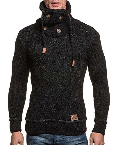 BLZ jeans - Pull homme noir col roulé à grosse maille Noir
