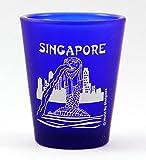 Singapour Merlion Verre à Shot en forme de plume Bleu Cobalt