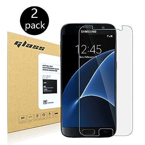 [2-Pack]Samsung Galaxy S7 Protecteur d'écran,HoPerain[verre trempé] Protection écran,Dureté 9H,Anti Scratch,Anti-empreintes digitales