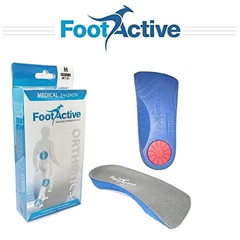 FootActive medizinische - 3/4 Länge Bogen Unterstützung Orthotische Einlegesohle für Plantar Fasciitis