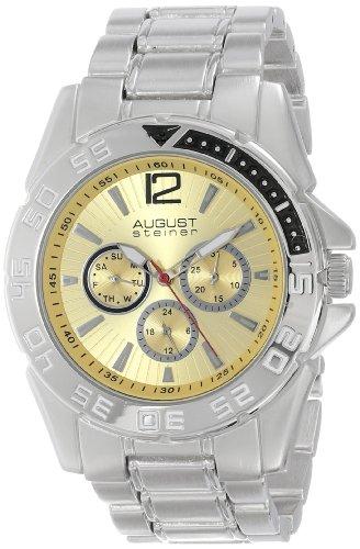 August Steiner Men's AS8077SS Quartz Multifunction Cream Dial Silver-tone Bracelet Watch