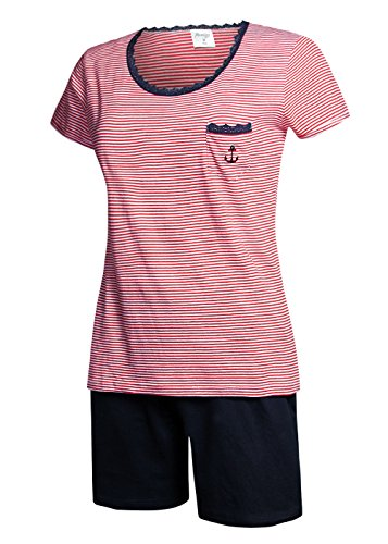 Moonline nightwear - Ensemble de pyjama - Femme Small oberteil rot / short navyblau