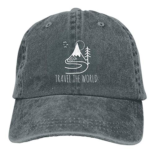 Travel The World Backpacking Adjustable Sport Jeans Baseball Golf Cap Hat Unisex Style -