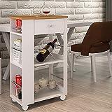 Style home Küchenwagen Servierwagen Rollwagen mit Schublade und Ablage Haushaltswagen Getränkewagen SH32M11015-WIE, Bambusholz Weiß (50x36x86cm)