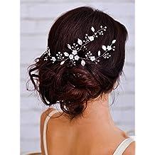 Aukmla bridal Hair Vine wedding copricapo con perline semplice attraente accessori per capelli per sposa e damigelle, 40cm