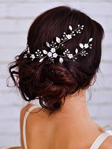 aukmla Haarschmuck Vine Hochzeit Kopfbedeckung mit Perlen einfach attraktives Haar-Accessoires für Braut und Brautjungfern, 40cm