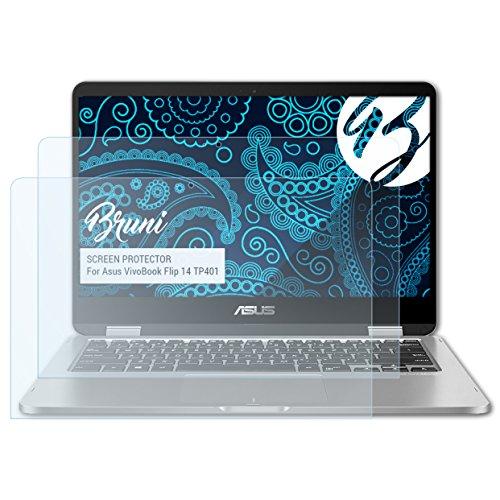 Bruni Schutzfolie kompatibel mit Asus VivoBook Flip 14 TP401 Folie, glasklare Bildschirmschutzfolie (2X)