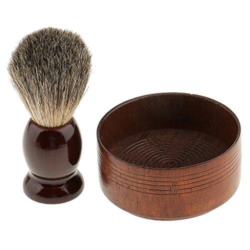 MagiDeal Blaireau / Brosse à Raser + Bol de Rasage en Bois pour Savon de Barbe Outil Pro pour Hommes Barbiers Salon de Coiffure