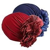 Boboder Frauen Beanie Hat elastische weiche große Blume Chemo Cap Schal Turban Kopf Wickeln für Haarausfall, Schlaf, Haarschutz 2 Stücke