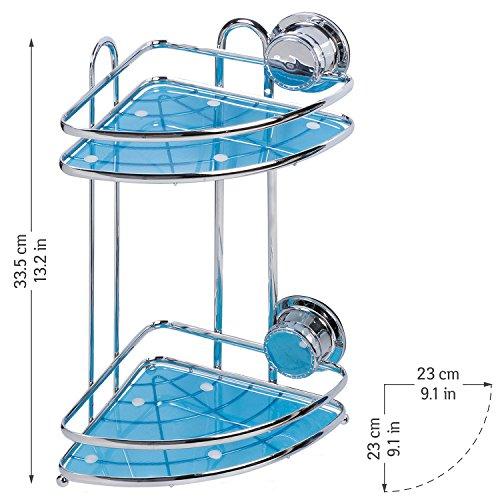 Tatkraft vacuum screw hard conrad mensola da bagno angolare con ventose 2 livelli acciaio cromato antiruggine 23x17.5x33.5 cm