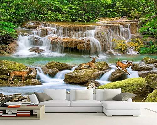 Super-hd-sockel (MuralXW Innendekoration 3D Wallpaper Super HD Stream Stream Wasserfall Wohnzimmer TV Hintergrund Tapeten Wohnkultur-450x300cm)
