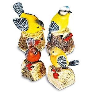 8 x Détecteur de mouvement en polyrésine-oiseau dan moi sifflet chant d'oiseau couleurs assorties 10 cm