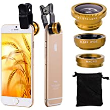 XCSOURCE® 3in1 Lente Kit 180 Fisheye Lens + Gran Angular + Lente Micro Camera Kit Oro para iPhone 3G / 3GS / 4G / 4S / 5 / 5G / 5C / 5S / 6 Samsung Galaxy S2 I9100 SII / S3 I9300 / S4 I9500 / Note 2 N7100 / Note3 N9005 N9000 / S5 V I9600 ipad / ipod / ipad air DC481