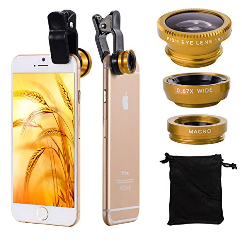3in1 Fish Eye + Wide Angle Macro Lens Kit Phone Camera d'Oro per iPhone 3G / 3GS / 4G / 4S / 5 / 5G / 5C / 5S / 6 Samsung Galaxy S2 I9100 SII / S3 I9300 / S4 i9500 / Note 2 N7100 / Nota3 N9005 N9000 / S5 V i9600 ipad / ipod / ipad aria DC481